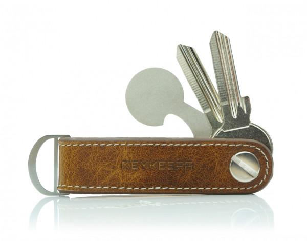 Schlüsselorganizer Leder LOOP - Cognac Brown